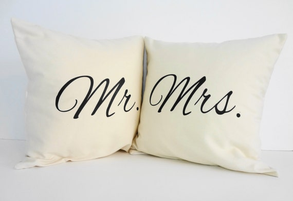 Mr And Mrs Throw Pillow Covers Wedding Gift By Pillows4fun