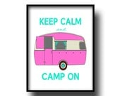 Retro Vintage Camper Art Print poster 8x10 camping turquoise pink gift home decor