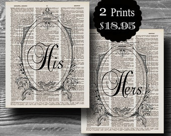 wedding his hers typography book page dictionary print set poster art black white 8x10 home decor gift