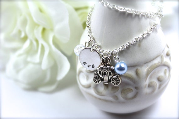 Personalized Girls Hand Stamped Name Necklace, Princess Necklace, Cinderella Pumpkin Carriage Charm -- FREE Gift Packaging