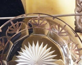 Antique Glass plate wide rim with applied Sterling Silver design. Not drawn on or electroplated