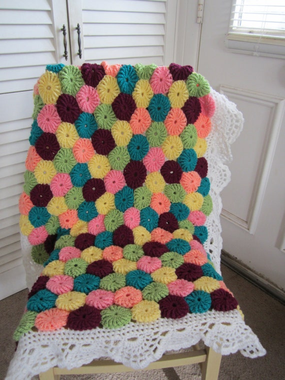 Crochet Yo-Yo Baby Afghan...Granny Square Children Blanket...Two ply ...