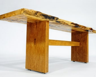 Live Edge Bench, Spalted Pecan Bench, Live Edge Wood Bench, Wood Slab Bench, Custom Wood Bench, Live Edge Coffee Table, Modern Wood Bench