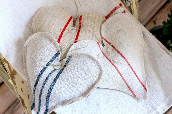 Heart Lavender Sachet from vintage European grain sack blue stripes