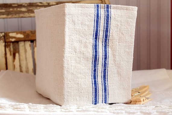 Grain Sack Fabric Bin Basket Blue or Red Stripes Linen lining