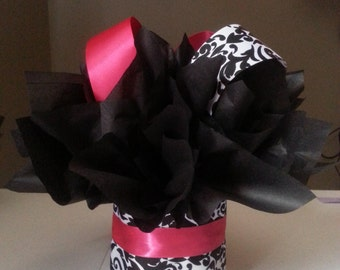 HOT Pink and white and black damask Boutique mini diaper cake perfect for a baby shower or first birthday table centerpiece