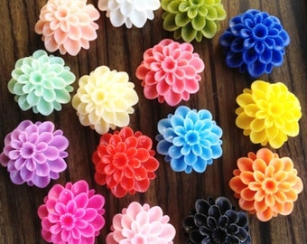 100pcs Chrysanthemum Flowers - Mixed Colors of Beautiful Resin Rose Bobby Pin Charm 22mm MATT H401