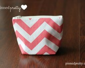 Small Makeup and Cosmetic Bag in Coral Chevron