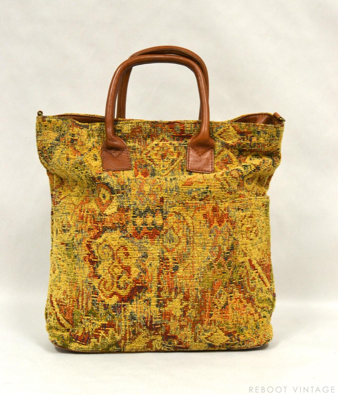 Vintage Large Leather Amp Tapestry Carpet Bag Tote 1980s Hobo