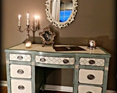 Vintage Mahogany Beach Cottage Desk / Vanity