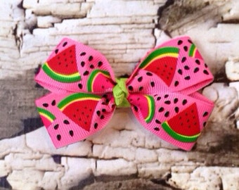Pink Watermelon Bow - Hair Bow - Pink Red Watermelon Hair Clip - Picnic Bow - Watermelon Clippie