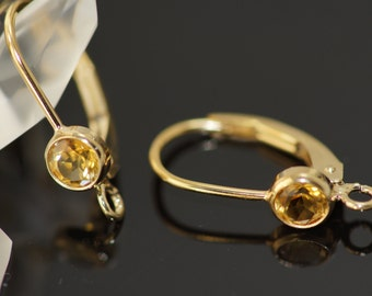 Set of 1 pairs 4.0 citrine lever back with 14k gold filled