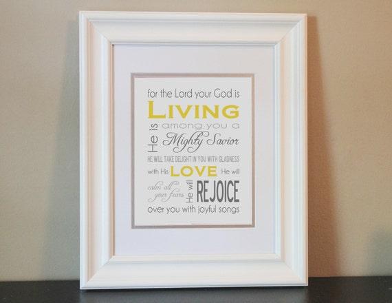 Baby Nursery Art Print (yellow & gray)- 8x10 Bible Verse Zephaniah 3:17- Printable or Shipped
