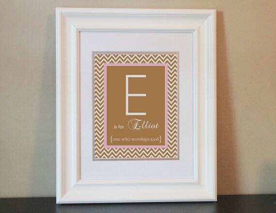 Chevron Baby Nursery Name Art Girl (Pink & Brown)- 8x10 Personalized Print