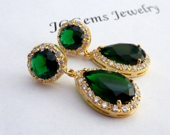 Bridal Earrings Halo Emerald Green Pear Shaped Cubic Zirconia Round Stud Yellow Gold Plated Earrings