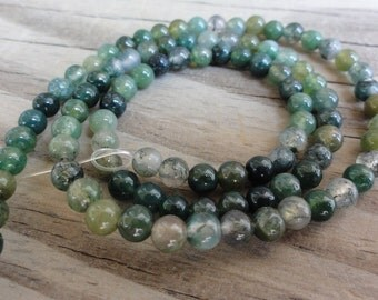 Green Moss Agate Beads 4mm Round Smooth Full Strand 16 inch