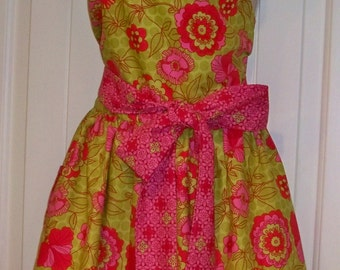 Womens  Pink and Lime Green Apron