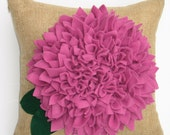 "Ready to Ship --- 15"" Zinnia Pillow in Raspberry"
