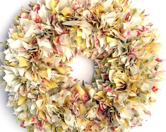 Spring Wreath - Summer Wreath - Shabby Wreath - Yellow Wreath - Cottage Wreath - Door Wreath - Rag Wreath - Floral Wreath - Baby Girl Wreath