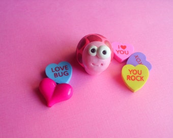 Valentine Pink and Red Turtle Polymer Clay Miniature Figurine Ooak Animal Gift Cute
