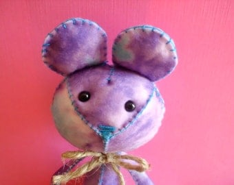 Stuffed Purple and Blue Tie Dye Mouse Plush Plushie Softie Stuffed Animal Ooak Gift Cute Small