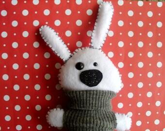 Plush Snow Bunny in Gray Sweater Stuffed Animal White Black Grey Gift Ooak Plushie Soft Softie Rabbit Hare