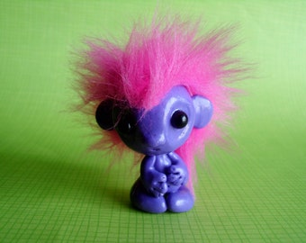 Purple and Pink Alien Troll Art Doll Polymer Clay Cute Fantasy Sci Fi Punk Ooak Gift
