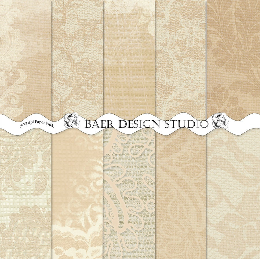 Champagne, Latte LACE and BURLAP Digital PAPER: 5×7 ...