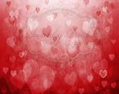 5ft x 5ft Vinyl Photography Backdrop / BOKEH Valentines Hearts / For Children Babies