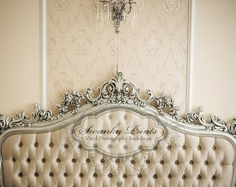 IN STOCK / Fast Shipping / 7ft x 5ft Vinyl Photography Backdrop / Tufted Bed Headboard