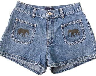 Tribal Aztec Elephant Waves Shorts Hand Painted Vintage Distressed High Waisted Denim Boho Coachella Hipster Small Medium W27