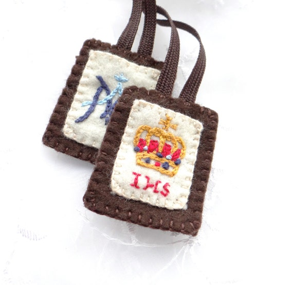 Hand Embroidered All-Wool Scapular