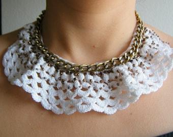 Crochet bib necklace and chain, unique, handmade