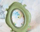 Pincushion / Picture Frame Pincushion / Green, Blue, and White / Up-Cycled / Shabby Chic