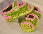 RESERVED FOR TRISTEN: Pink and Green Heart Baby Sandals
