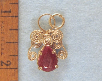 Filigree Ruby Angel in Argentium Sterling Silver Wire Wrapped Pendant Number 4 of 500