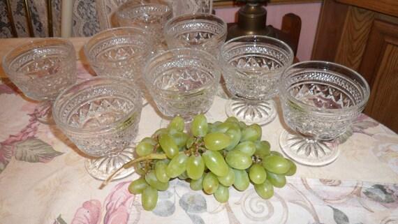 Vintage Cut Glass Pressed Glass Sherbet Dishes 8 Stemmed