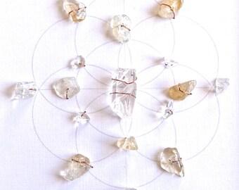 SOLAR PLEXES CHAKRA --- framed sacred crystal grid --- citrine, quartz