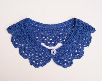 Blue Peter Pan Cotton Collar Crochet Women Neck Accessory Detachable Lace Collar