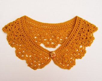 Crochet Peter Pan Collar Mustard Yellow Cotton Accessory
