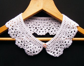 White Collar Cotton Peter Pan Detachable Lace Accessory