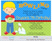 Bowling Boy:026 - PRINTABLE INVITATION