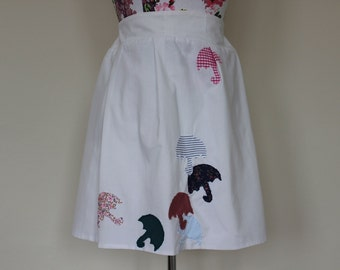 "CLEAR OUT !!! Handmade white high-waisted skirt with applique umbrellas: waist 32"" size UK 14"