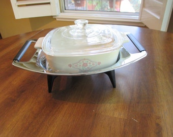 Vintage Corning Ware Covered 1 Liter (A-1-B) and Warming Stand