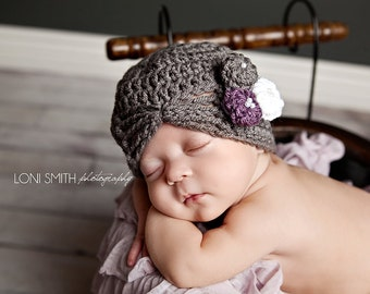 Baby girl grey, purple and white vintage inspired flapper crochet hat