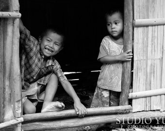 Travel Photography, Children, Boys, Portrait, Black and White, Fine Art Print, Ethnic, Nursery Decor, Large Wall Art, Smiling, Kids, Asia