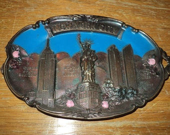 Retro New York City Skyline Souvenir made of molded copper with an Enamel painted relief display of Famous  Skyline with iconic buildings