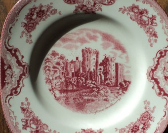 Vintage Pink and White Transfer print on Ceramic China Plate,  Ragland Castle in 1792, Made in England by the Johnson Brothers since 1883