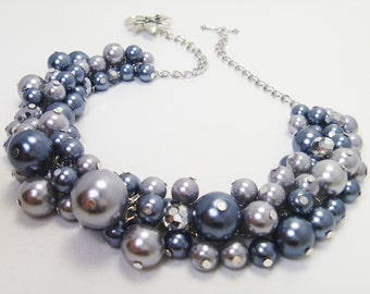 Gray Pearl Necklace, Chunky Necklace, Pearl Cluster, Silver Bridal Jewelry, Gray and Pewter Necklace, Bridesmaid Gift, Gray Pearl Necklace