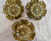1930's Floral Brass Buttons